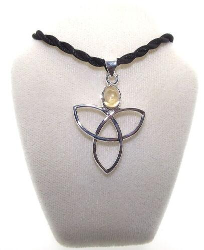 Citrine Gemstone Triquetra Charmed Pendant