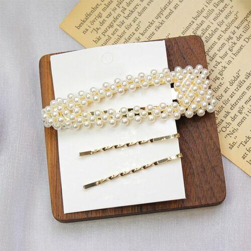 Elegant Crystal Barrettes Hair Clip Pearl Hairpin Headdress Women Girls Jewelry