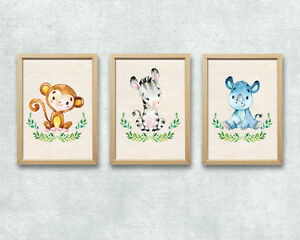 3x jungle animal nursery prints retro kids room decor safari monkey
