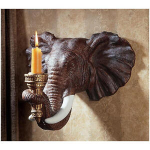 "Design Tuscano Hand Painted In Natural Tones 9½"" Elephant Sculptural Wall Sconce"
