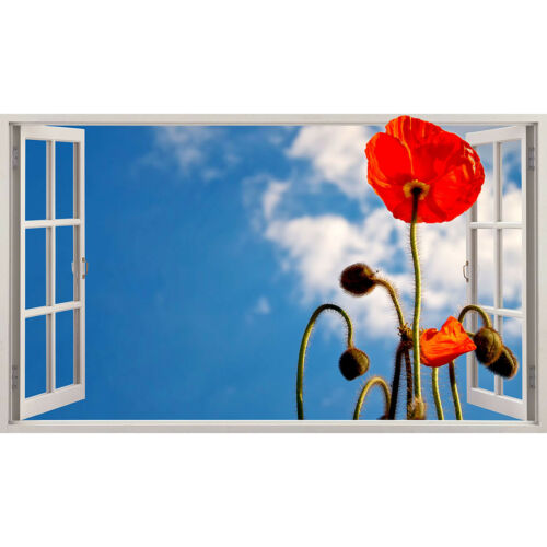 Wall Stickers Poppy Red Flower Sky Sunny  Bedroom Girls Boys Living Room D163