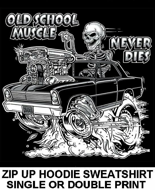 1966-67 OLD SCHOOL MUSCLE HOT ROD RACE BLOWER CAR SKULL ZIP HOODIE SWEATSHIRT O5
