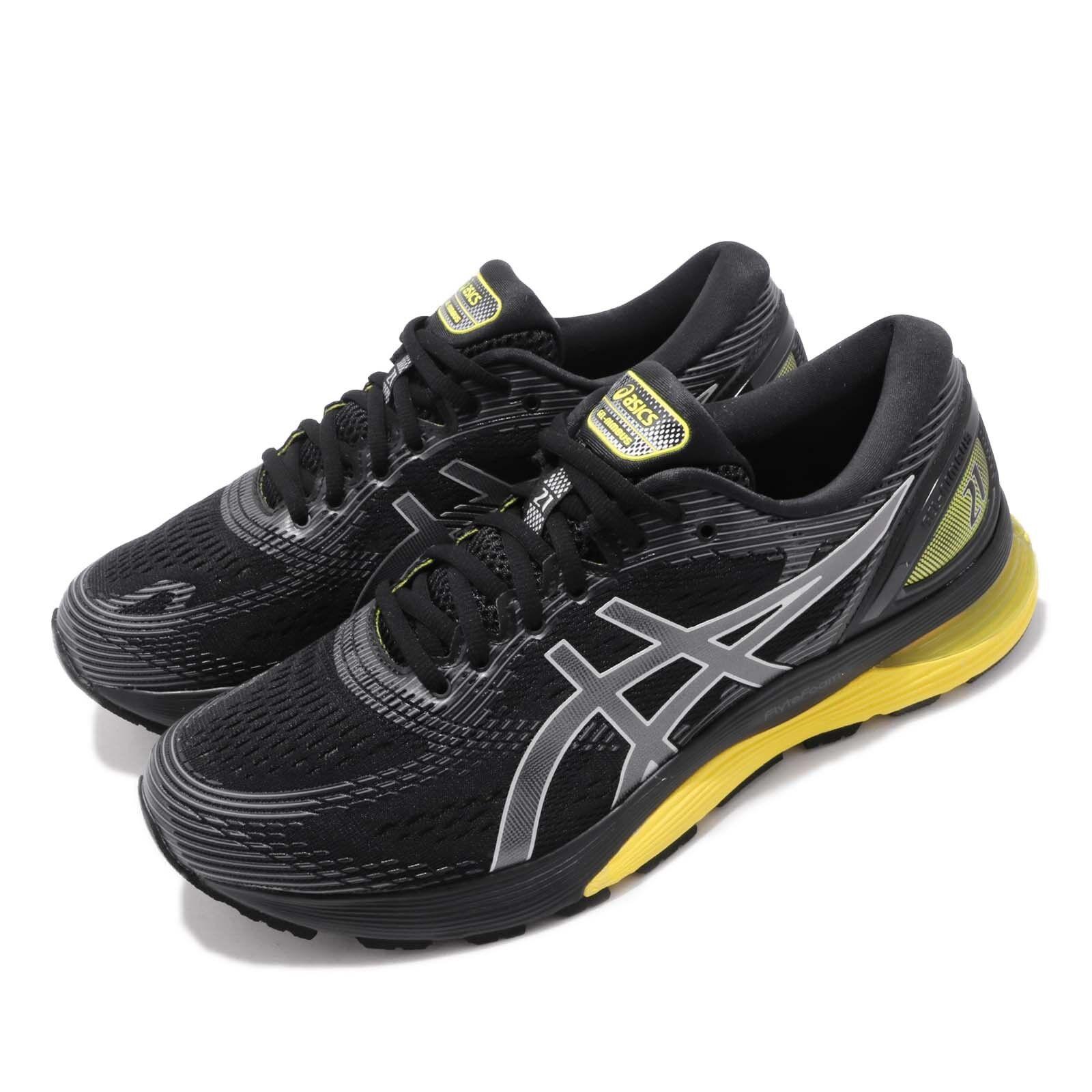 Asics Gel Nimbus 21 Negro Limón Spark Hombres Correr Zapatos Tenis 1011A169-003