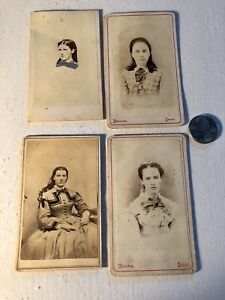 4 Cdv Cards Pretty Young Girls 1 With Cobalt Blue Spencer Ny Owego