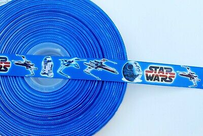"STAR WARS BLUE 7//8/"" Grosgrain Ribbon Various Yards SHIP FROM USA"