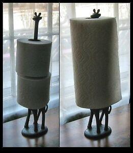 Long Neck Giraffe Cast Iron Paper Towel Holder Toilet