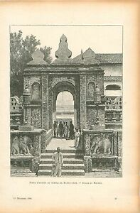 Porte-d-039-Entree-du-Temple-de-Kumbakonam-Inde-GRAVURE-ANTIQUE-OLD-PRINT-1906