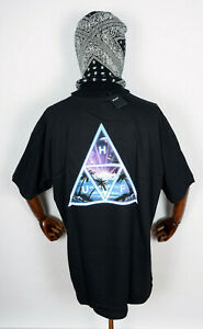 Huf Worldwide Skateboard T-Shirt Tee Space Beach Triple Triangle Black in XXL