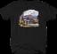 Black Steam Engine Cargo Train Bridge Tree Mountains Water River T-shirt
