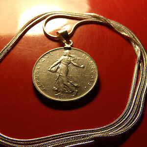 Boho-French-Franc-Coin-Bezel-Pendant-on-a-30-034-925-Sterling-Silver-Snake-Chain