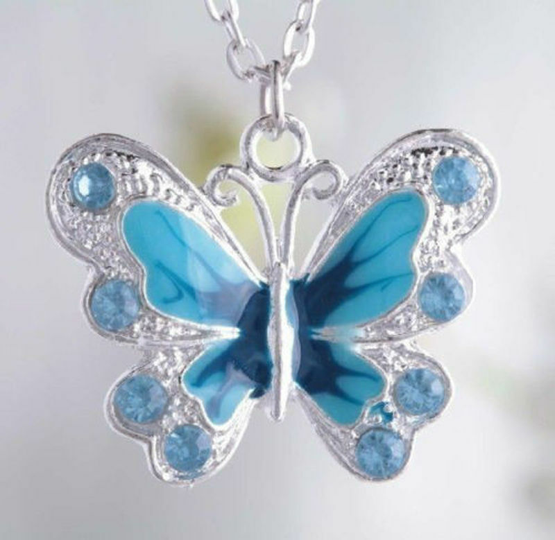 5 50 Silver Plated Enamel Butterfly Pendant Charms Jewelry