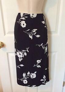 TALBOTS-Petites-Black-White-Floral-Print-Faux-Wrap-Pencil-Skirt-Sz-Small-2-4