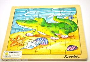 "ALLIGATOR 20 pc Jigsaw Wood Puzzle 8""x8"" Educational Toy Wooden Woodcrafted Game"