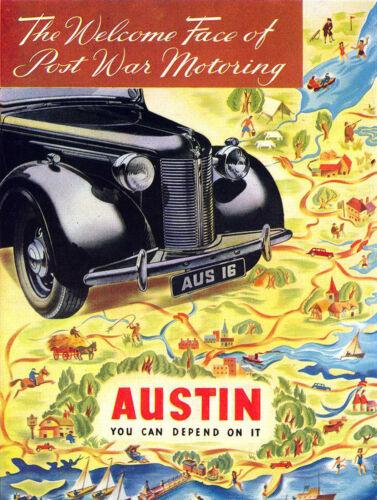 Classic Car-Austin Post War-Vintage Métal Signe//Plaque garage Home Decor cadeau
