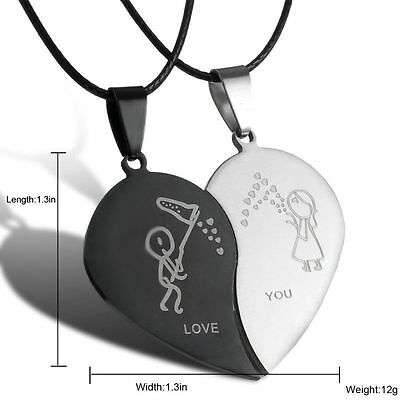 2pcs Stainless Steel Couples Necklace Set Boy & Girl Catching Blowing Kisses BFF