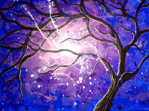 lila Vortex Tree 3D Art Full Wall Mural Large Print Wallpaper Home Decal Decor