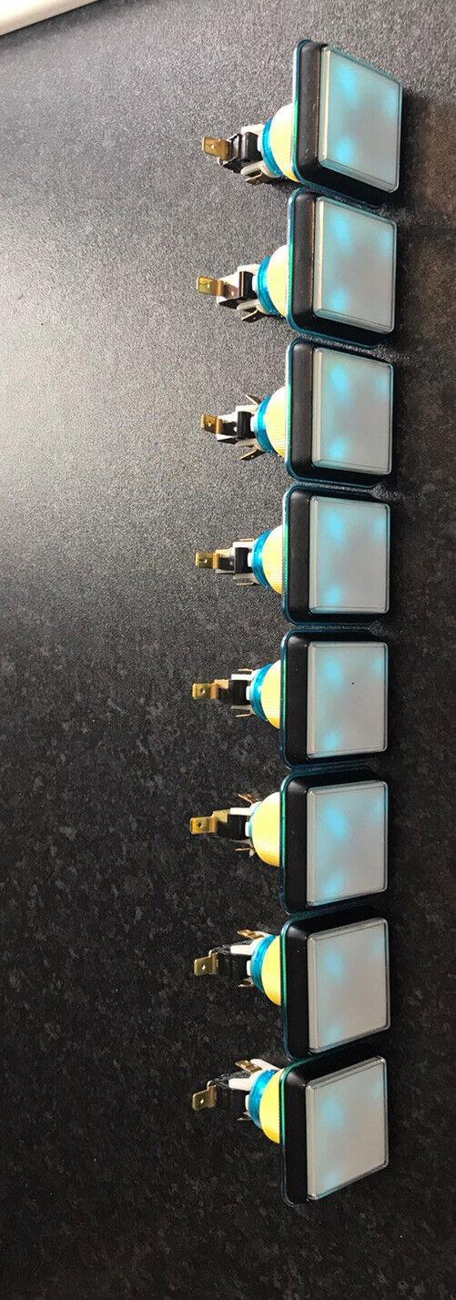 Fruit Machine Square Buttons & Switches Set BLUE & BLACK X8 Gamesman