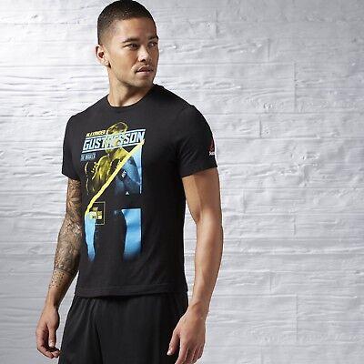 Men Reebok UFC DOMINICK CRUZ Fighter Black T-SHIRT MMA Crossfit S M L XL 2XL NWT
