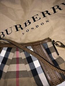 Burberry Check Nova Brown Canvas Leather Studded Phoebe Hobo Clutch Bag RRP£899