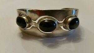 Vintage-Taxco-Sterling-Silver-Bracelet-TA-120-925-Mexico-Black-Inlay-39-grams