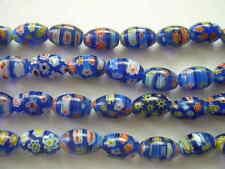 Millefiori glass rice beads 6X8mm Dark Blue