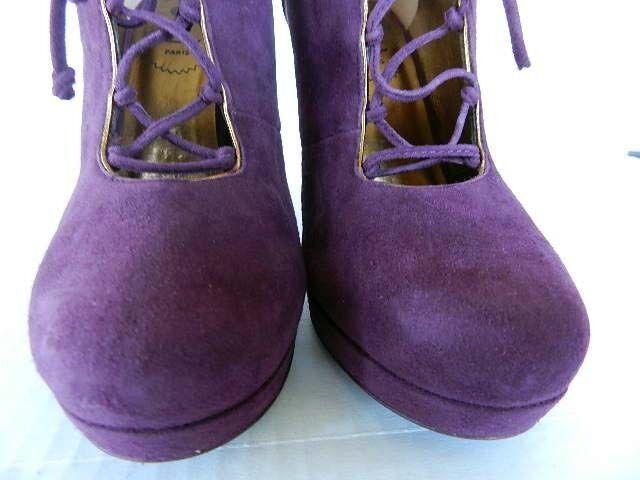 8846 YSL Tribute 90 Laceup Scamosiato Dark Magenta Woman Boots, Size36.5, 37, 38