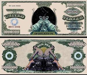 Taurus Zodiac Million Dollar Bill Fake Play Funny Money Novelty with FREE SLEEVE