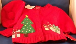 New-Red-Christmas-Sweater-Hat-Tam-Beret-Pom-Pom-3-Months-Cardigan-Button-Tree
