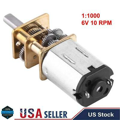 1:1000 DC Micro Speed Reduction Motor Voltage 6V 10RPM Metal Gearbox