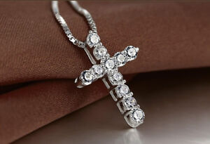 Crystal-Cross-Pendant-925-Sterling-Silver-Chain-Necklace-Womens-Girls-Jewellery