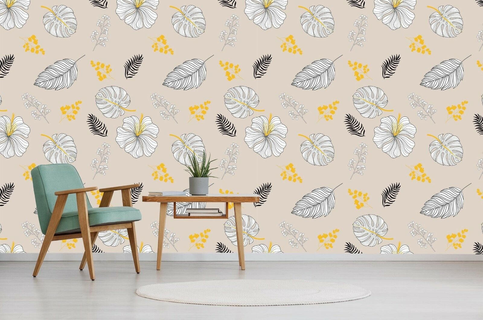 3D Yellow Leaves 738 Wallpaper Mural Paper Wall Print Indoor Murals CA Summer