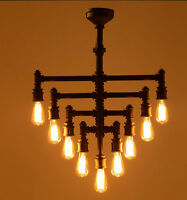 Industrial Steampunk Chandelier Lighting Iron Pipe Edison Bulb Ceiling 9 Arms
