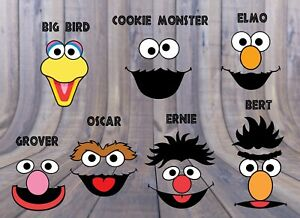 Details About Sesame Street 7 Character Face Jpegs Birthday Party Decorations Elmo Cookie