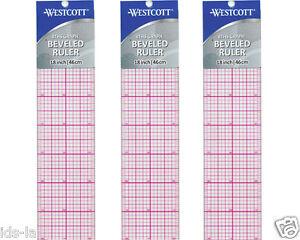 """* 3 * Westcott B-85 18"""" X 2"""" 8ths Graphique Biseauté En Plastique Transparente Dirigeants-afficher Le Titre D'origine"""