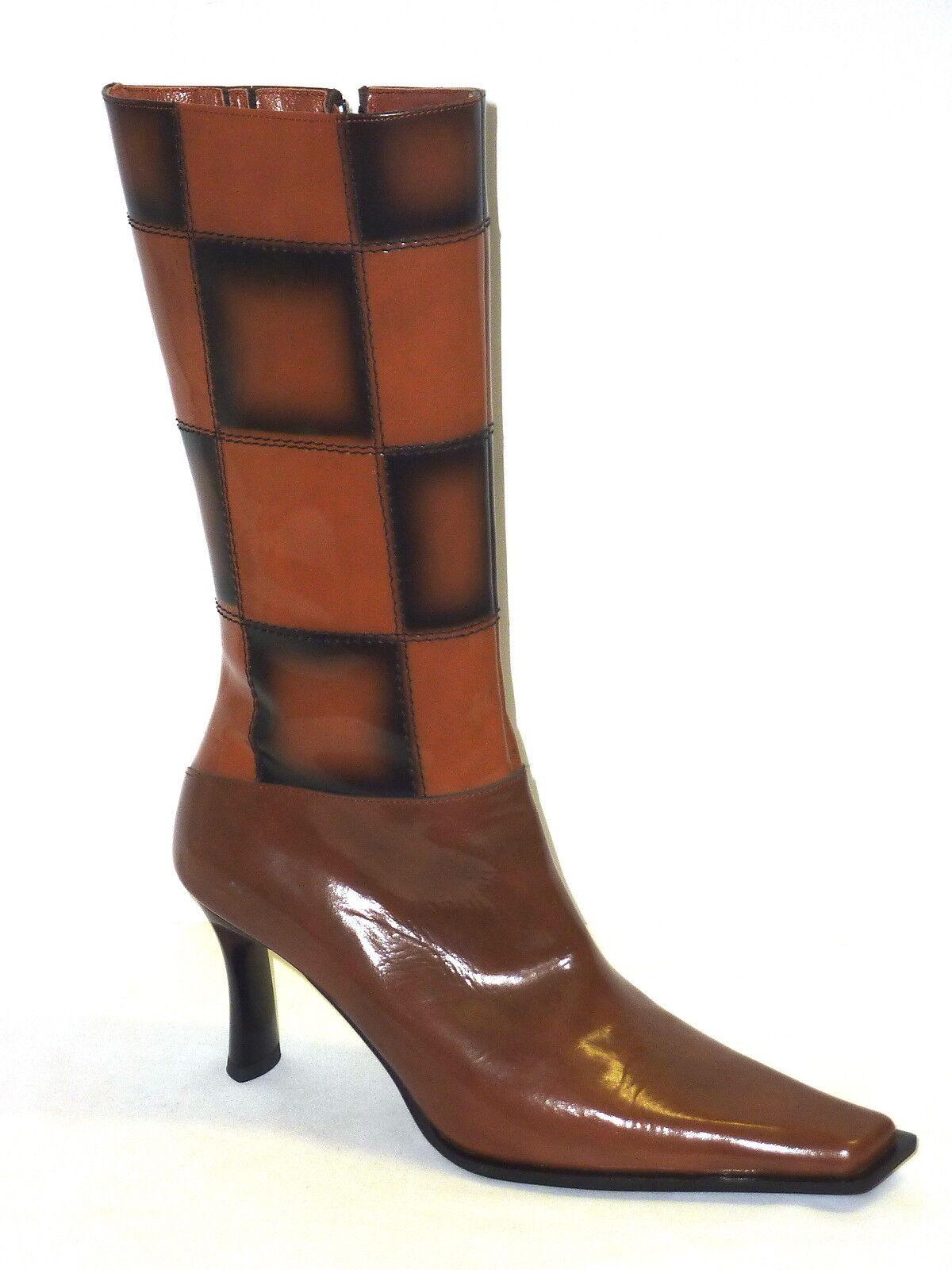 ILIAN FOSSA' STIVALI women STIVALETTI PELLE VERNICE shoes MODA brown-black 38