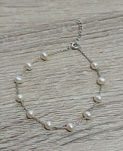 """Sterling Silver Pearl Bracelet Great Condition 7.2"""" Length"""