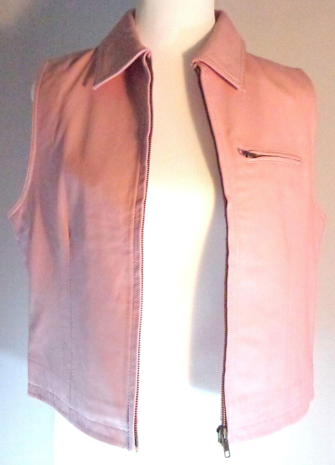 Monterra Pink Leather Vest Womens Size L