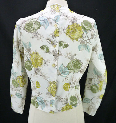 Vintage 50s Yellow/Green Rose Print Garden Button Back 3/4 Sleeve Pinup Blouse L