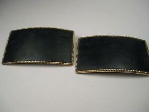 Vintage-Pair-of-Navy-Blue-Leather-Gold-Tone-Musi-Shoe-Clips-2-25-034-by-1-1-3-034