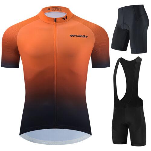Men Cycling Jersey Bicycle Tops Bib Shorts Kit Set Maillot Bike MTB Pants Tights