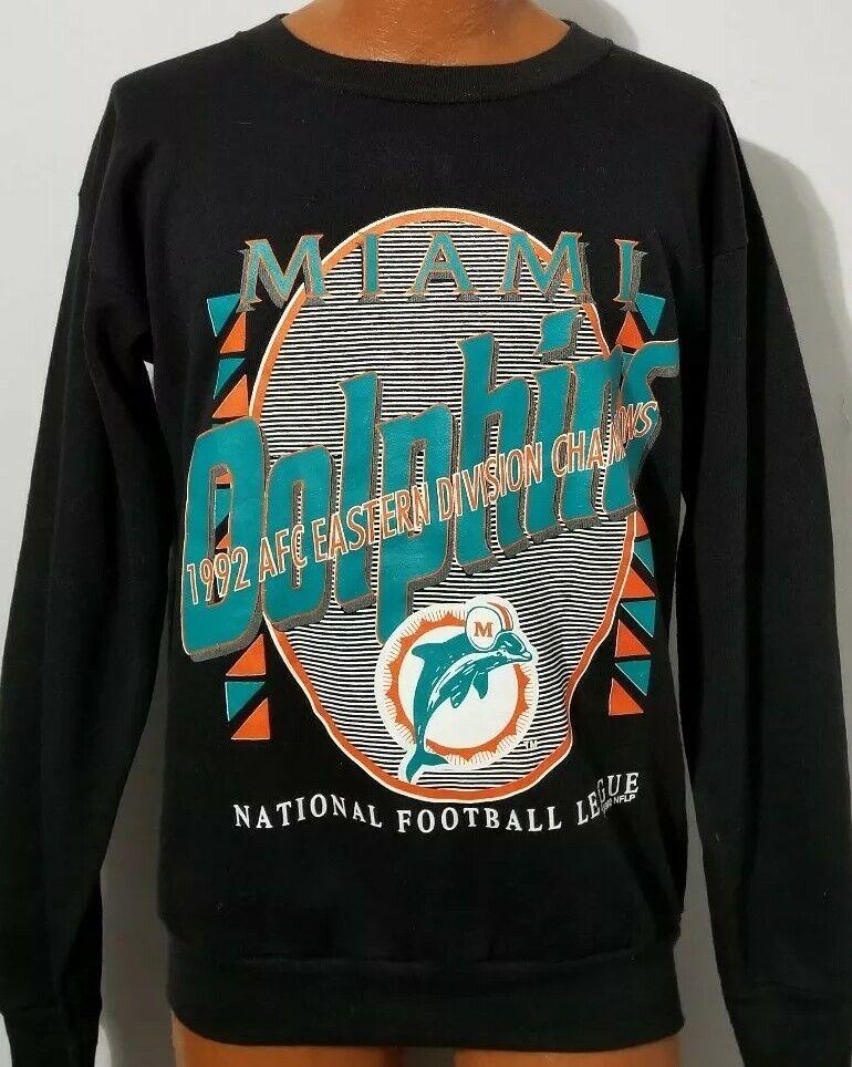 Vintage 1992 Miami Dolphins  Sweatshirt AFC Champions Adult Large Tultex