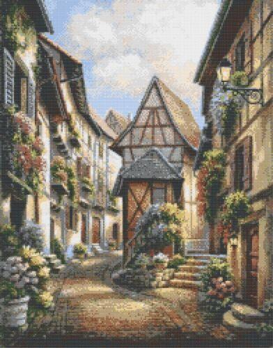 Pintoresco pueblo-Tabla de puntada cruzada contada