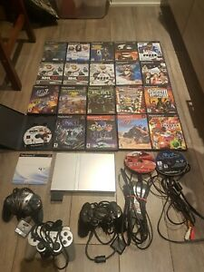 Sony-Playstation-2-Slim-Silver-SCPH-79001-with-22-Games-And-3-Controller