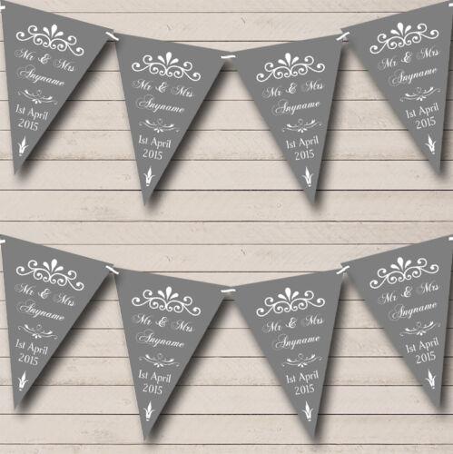 Vintage Regal Grey Personalised Wedding Venue or Reception Bunting Banner
