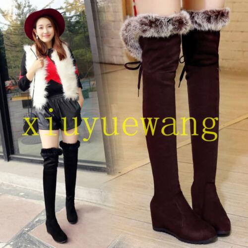 Women Over Knee Thigh Boots Round Toe Lacs Up Hidden Heels Rabbit Fur Shoes Warm