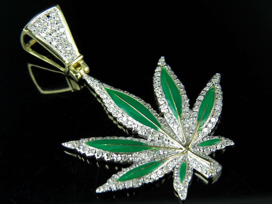 10K Yellow gold Enamel Coated Marijuana Leaf Genuine Diamond Pendant 1.6  0.85Ct