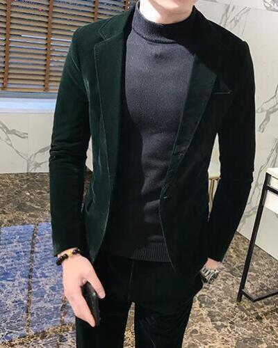Mens Velvet Formal Dress Suit Jacket One Button Lapel Slim Fit Blazer Coat G978