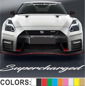 Details About Supercharged Script Windshield Decal Sticker Turbo Truck Lift Mud Car Diesel