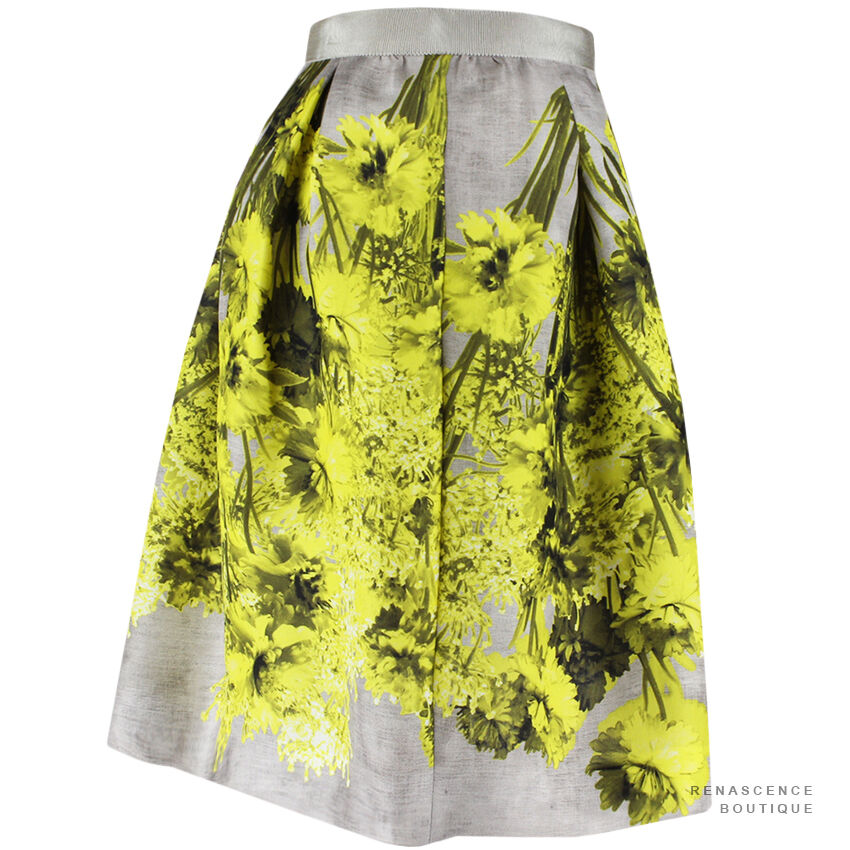 Giambattista Valli Giallo Giallo Giallo Grigio Toni Motivo Floreale Gonna Di Seta in tessuto IT44 UK12 9092c8