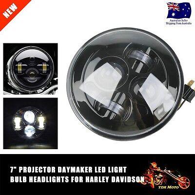 "7"" Chrome LED Projector Daymaker Hi-Lo Headlight Head Lamp For Harley Davidson"